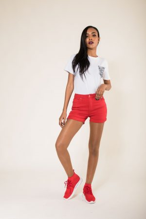 Nina Carter short rouge taille haute push up