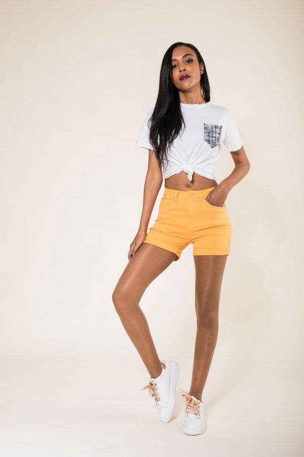 Nina Carter short jaune taille haute push up