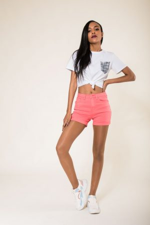 Nina Carter short corail taille haute push up