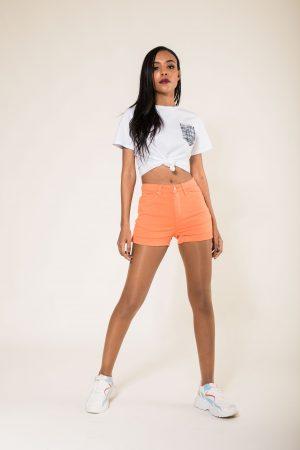Nina Carter short orange taille haute push up