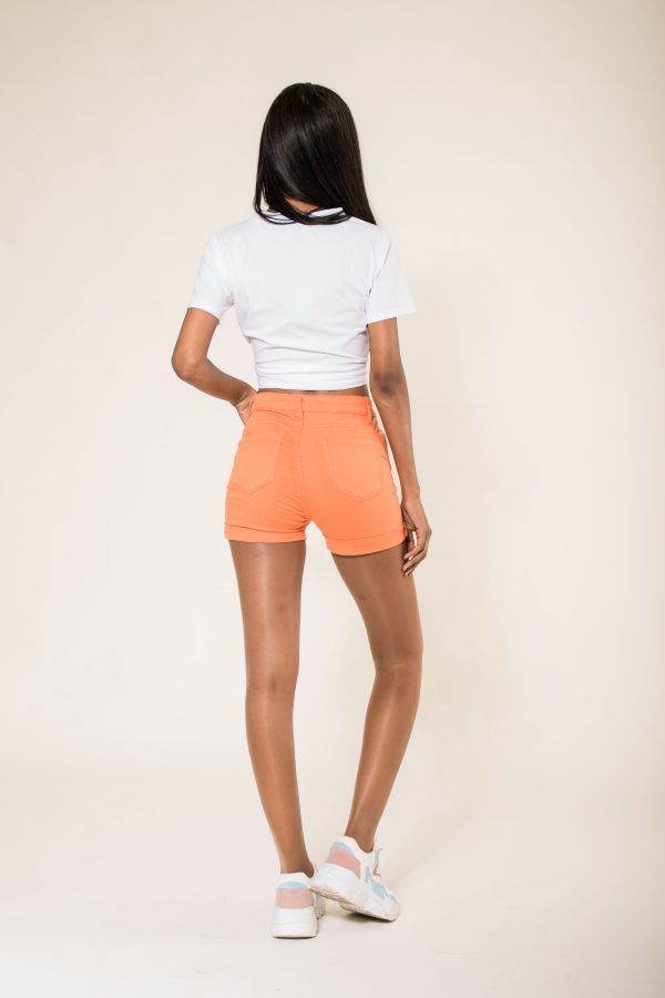 Nina Carter short orange taille haute push up