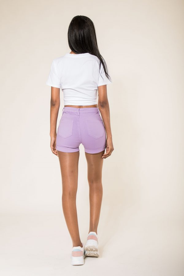 Nina Carter short lilas parme taille haute push up