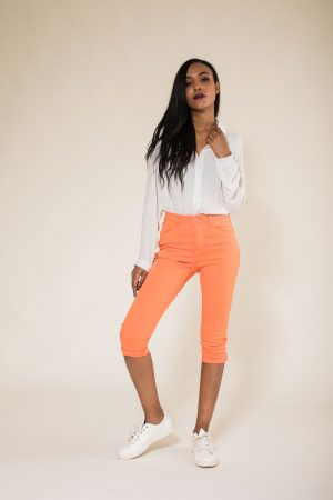 Nina Carter pantacourt orange taille haute
