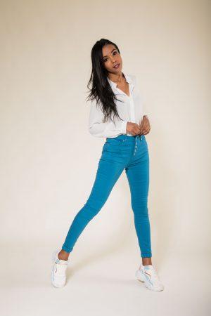Nina Carter pantalon 5 boutons taille haute