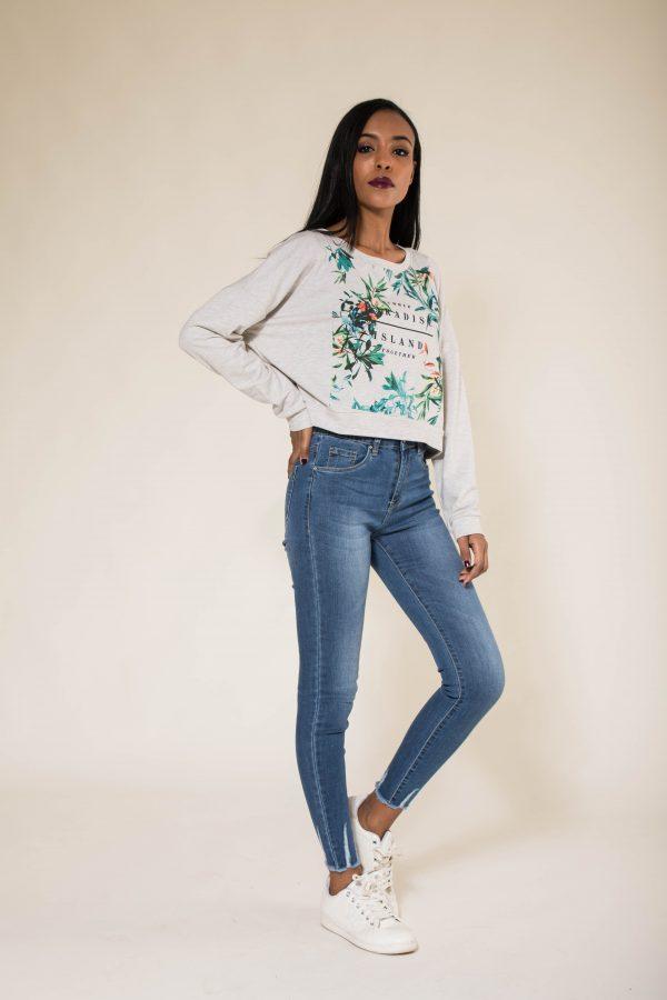 Nina Carter jeans taille haute effiloché