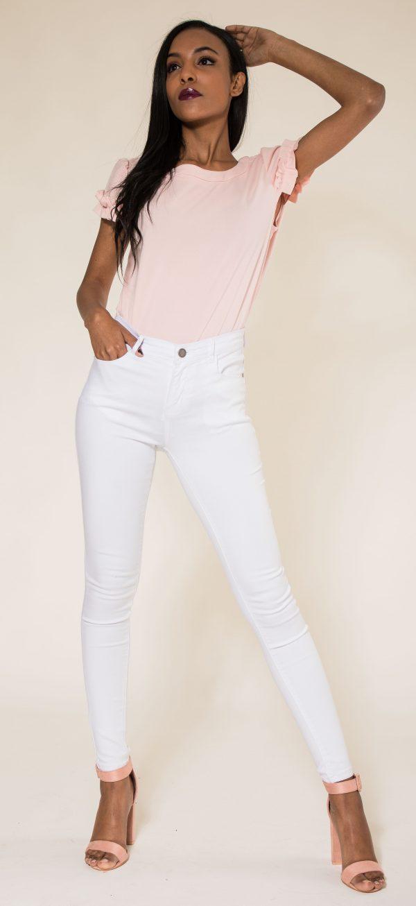 Nina Carter pantalon blanc skinny push up