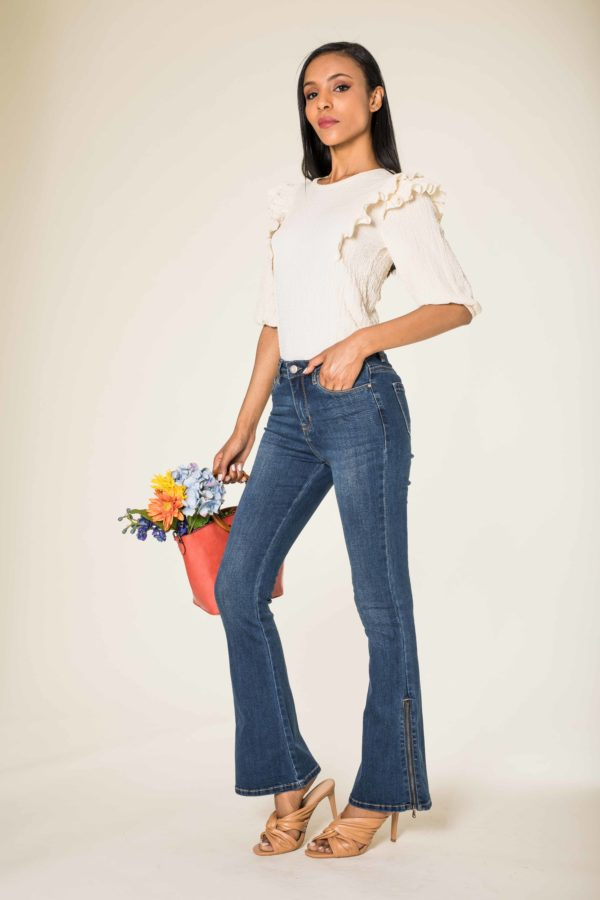 Nina Carter jean large, bootcut, patte d'éph zip