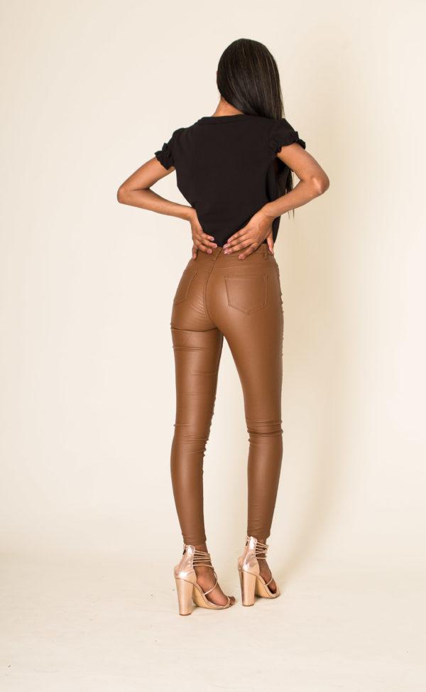 Nina Carter skinny enduit camel