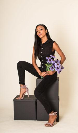Nina Carter combi jean sans manches