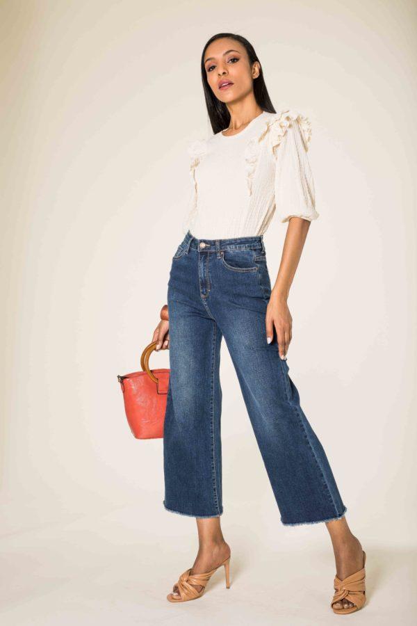 Nina Carter jean flare cropped évasé effiloché