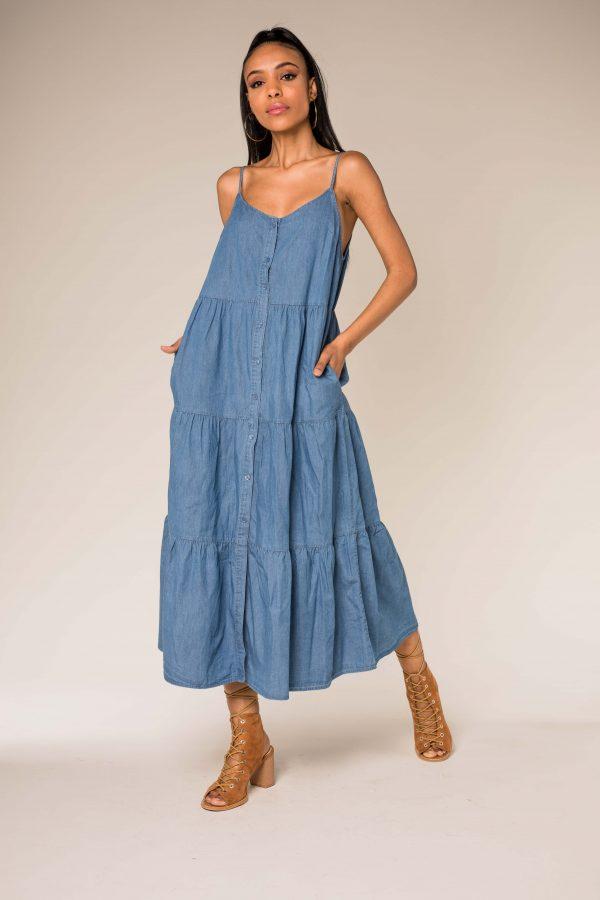Nina Carter robe en jean boutonnée