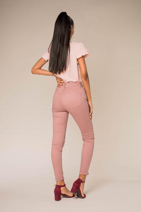 Nina Carter pantalon taille haute rose des bois