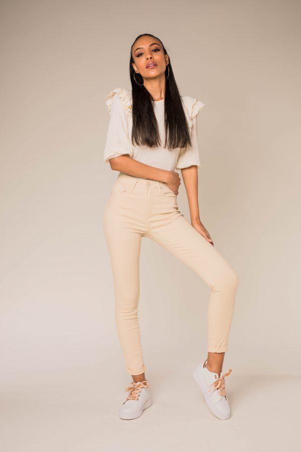 Nina Carter pantalon taille haute beige crème