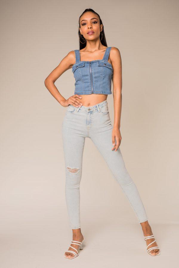Nina Carter jean skinny troué bleach