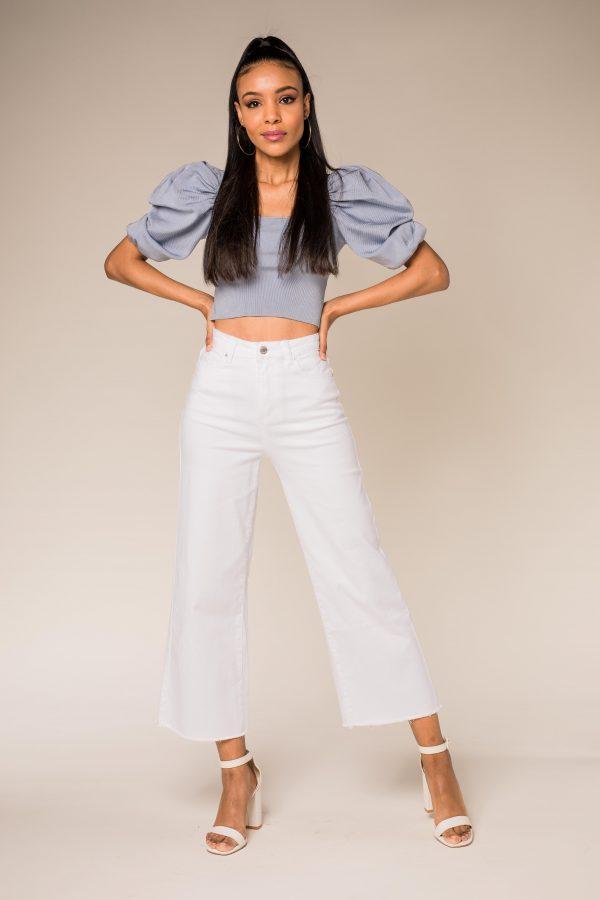 Nina Carter jean blanc flare cropped